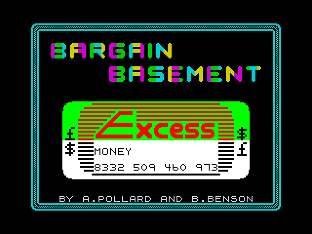 Bargain Basement!!! screen