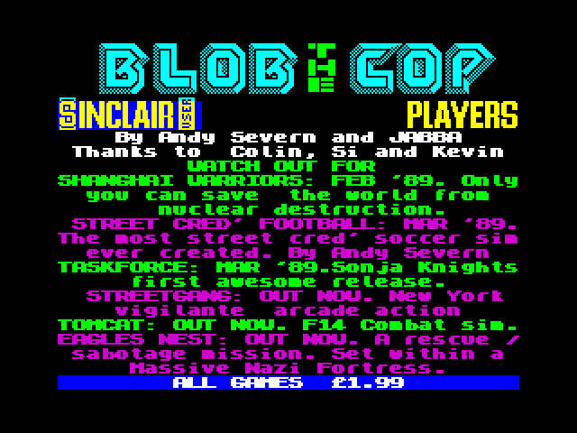 Blob the Cop screen