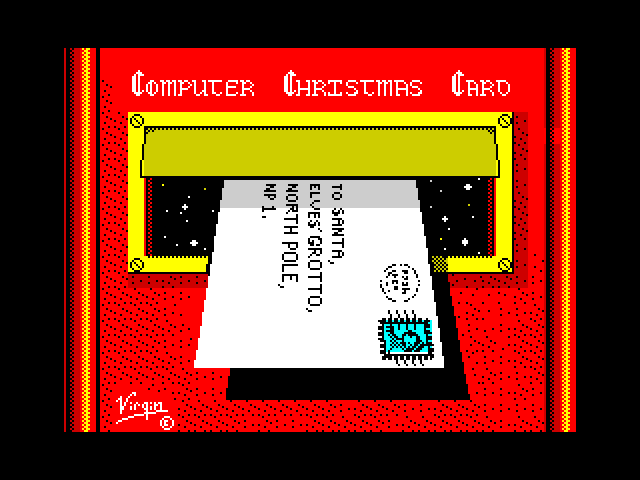 Computer Christmas Card screen