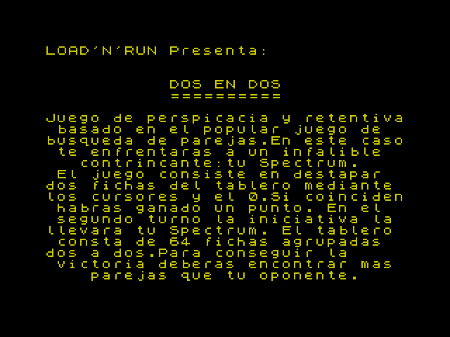 Dos en Dos screen