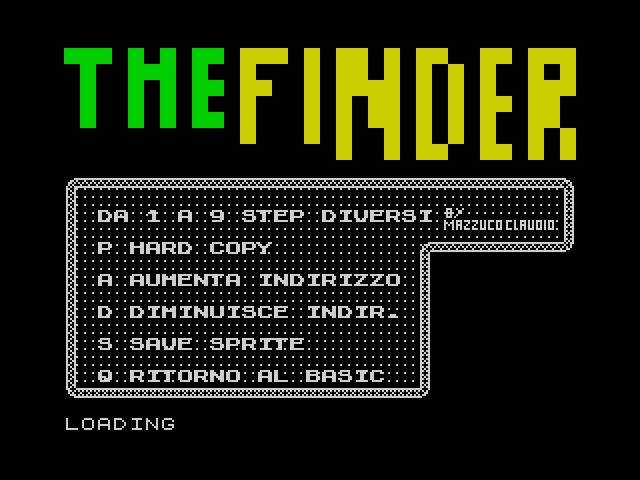 The Finder screen
