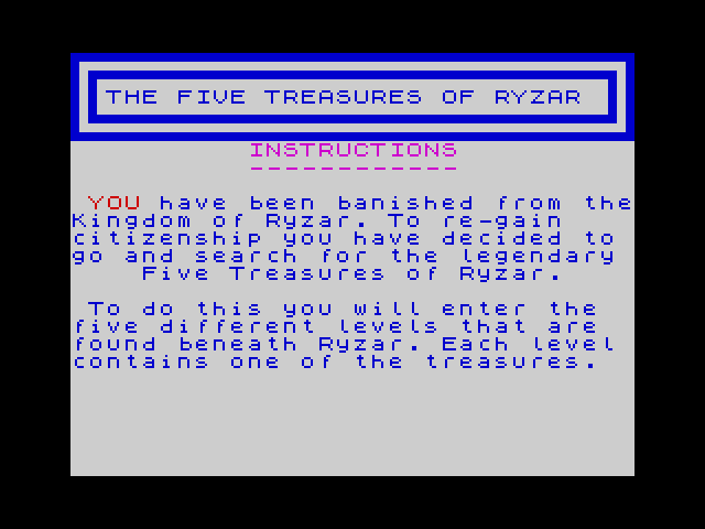 The Five Treasures of Ryzar screen