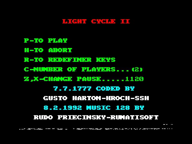 Light Cycle II screen