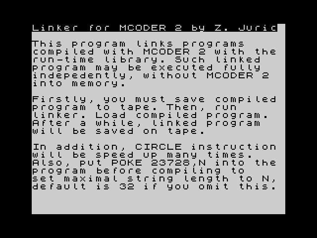 MCoder II Linker screenshot