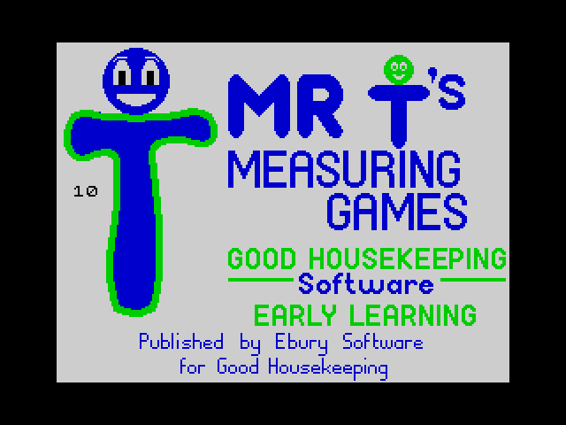 Mr T's Measuring Games screen