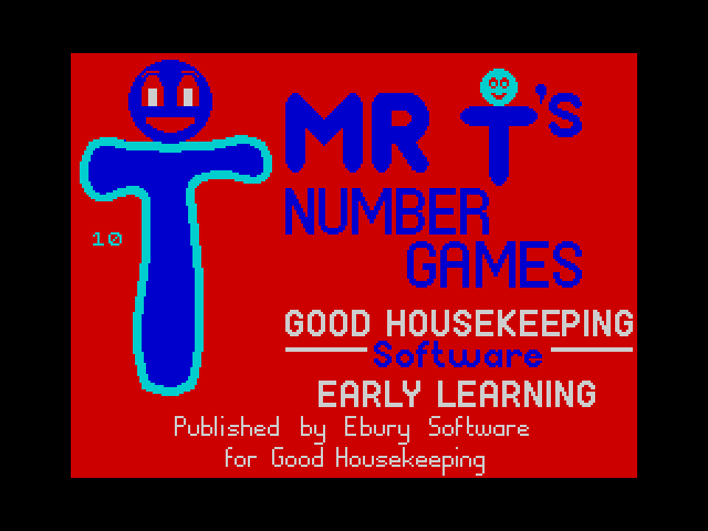 Mr T's Number Games screen