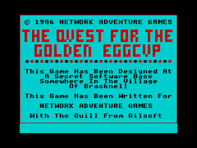 Quest for the Golden Eggcup screen