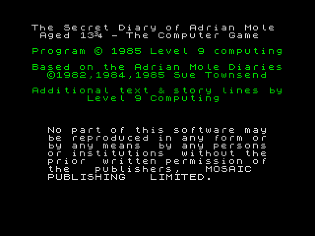 The Secret Diary of Adrian Mole Aged 13 3/4 image, screenshot or loading screen