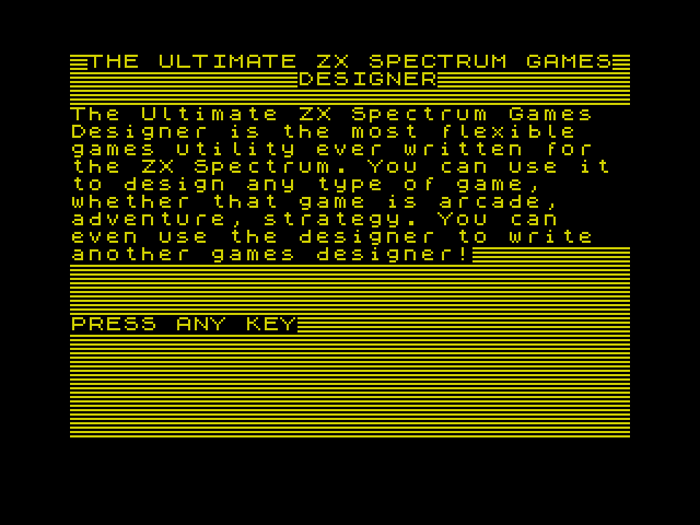 Ultimate ZX Spectrum Games Designer screenshot