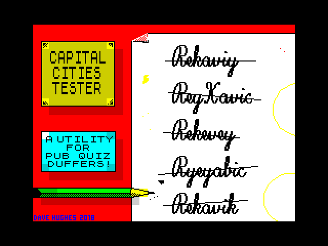 Capital Cities Tester screen
