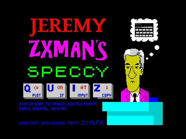 Jeremy ZXMan's speccy quiz screenshot