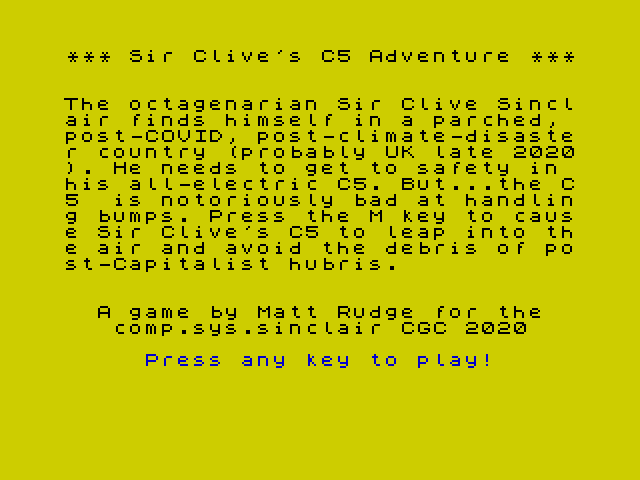 [CSSCGC] Sir Clive's C5 Adventure image, screenshot or loading screen